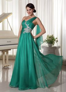 One Shoulder Appliqued Turquoise Graduation Dresses in Palmer AK