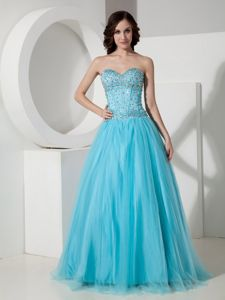 A-line Sweetheart Beaded Aqua Blue Graduation Dresses with Corset Back