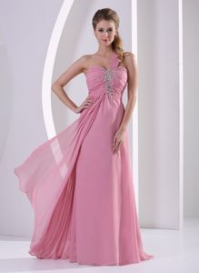 One Shoulder Rose Pink Long Graduation Dress for High School with Beads