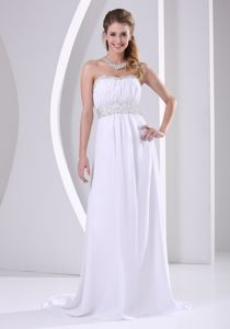 Simple White Long Graduation Dresses for College with Beads and Ruche