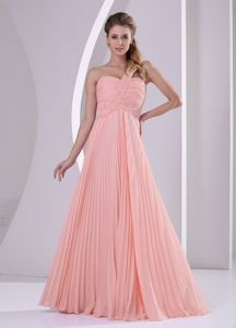 Perfect One Shoulder Pleated Peach Long Graduation Dresses for Juniors