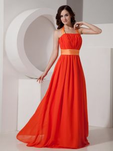 Halter Ruched Orange Maxi Graduation Dress for 8th Grade in Ninilchik AK