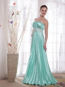 New Arrival Strapless Beaded Pleated Graduation Dresses in Apple Green