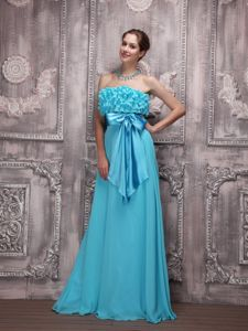 Cheap Aqua Blue Long Graduation Dresses with Sash and Ruffled Bodice