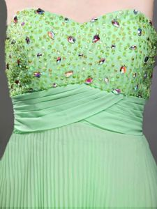 Pleated Beaded Apple Green Long Graduation Dresses for High School