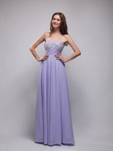 Lilac Long College Graduation Dress with Rhinestones in Fairbanks USA