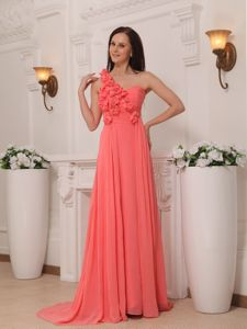 Brush Train Watermelon Chiffon Evening Dress for Graduation with Flowers
