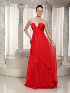 Slot Neck Red Long Chiffon 5th Grade Graduation Dresses for a Cheap Price