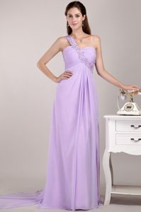 On Sale One Shoulder Beaded Lavender Long Graduation Dress for Juniors