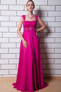 Straps Beaded Hot Pink Long Graduation Dresses for Girls in Eagle River USA
