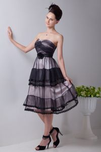 Zipper-up Tea-length Black Eighth Grade Graduation Dresses for Wholesale