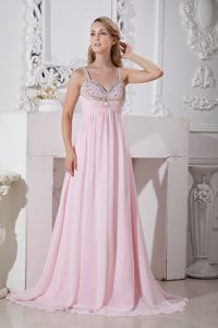 Beautiful Straps Beaded Light Pink Long Graduation Dresses for College