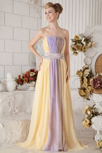 Strapless Chiffon Long Multi-color Graduation Dresses for 8th Grade