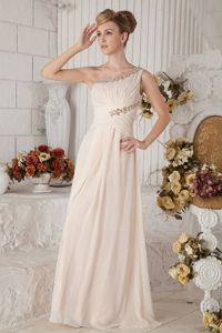 Pretty One Shoulder Champagne Long Prom Dress for Graduation with Beads