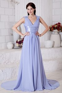 V-neck Beaded Lilac Eighth Grade Graduation Dress with Cut Out Back