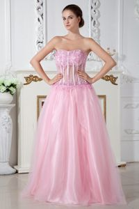 Appliqued Baby Pink Long Graduation Dresses for Juniors with Sheer Waist