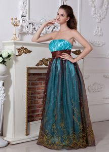 Strapless Ruched Aqua Blue Long Graduation Dress for Grade 8 with Sash