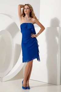 Royal Blue Short Chiffon Middle School Graduation Dresses for Wholesale