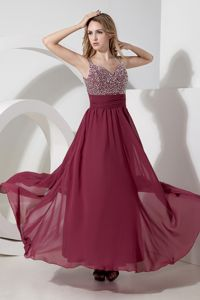 Straps Beaded Burgundy Long Grad Dress for 8th Grade with Side Zipper