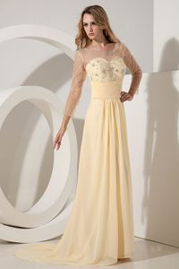 Brush Train Beaded Light Yellow Grad Dresses with Sheer Neck and Sleeves
