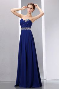 Sweetheart Beaded Royal Blue Long Graduation Dresses for High School
