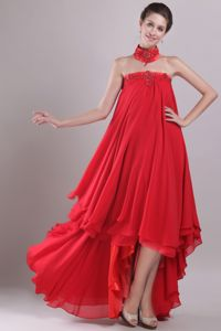Strapless High-Low Beaded Red Graduation Dresses for Grade 8 Factory