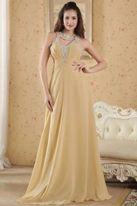 Anchorage USA Popular Beaded Gold Long Graduation Dress with Cutouts