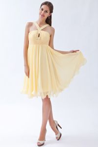 Pretty Straps Yellow Short Chiffon Graduation Dress for College in Haines AK