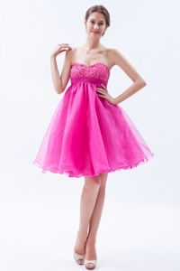 Puffy Hot Pink Short Graduation Dresses for Juniors in Organza with Beads