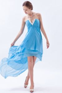 Plus Size Slot Neck High-Low Graduation Dress for High School in Baby Blue