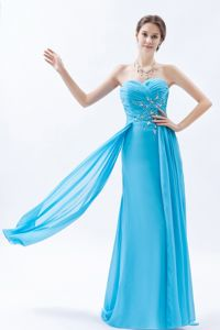 Sweetheart Beaded Aqua Blue Long Graduation Dresses for Middle School