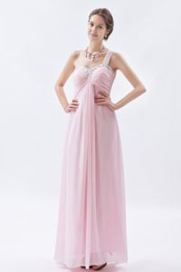 One Shoulder Beaded Baby Pink Long Graduation Dresses for 5th Grade