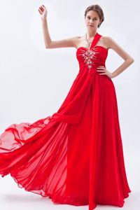 Cheap One Shoulder Beaded Red Long Graduation Dresses Factory