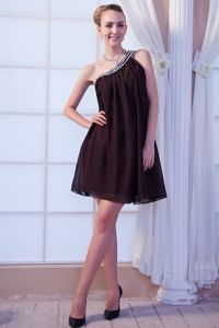 Simple Brown One Shoulder Mini Graduation Dress with Beads in Sylacauga USA