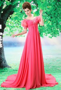 Court Train V-neck Watermelon Red Graduation Dress with Puffy Short Sleeves