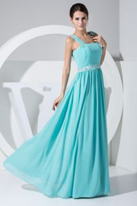 Hot Sale Straps Aqua Blue Long Graduation Dresses with Beaded Waist
