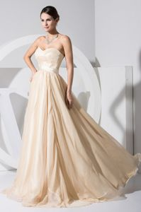 Recommended Sweetheart Long College Graduation Dress in Champagne
