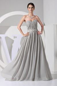 Modest Beaded Gray Long Graduation Dress for Juniors in Roanoke USA