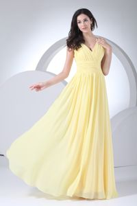 V-neck Yellow Chiffon Long University Graduation Dress Free Shipping