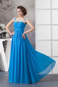 Blue Long Graduation Dress for High School with Beads and Sheer Scoop Neck