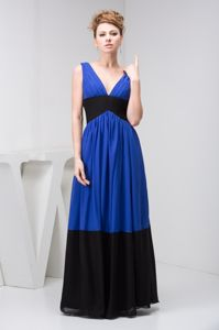 Black and Blue V-neck Long Graduation Dresses for Juniors under 150