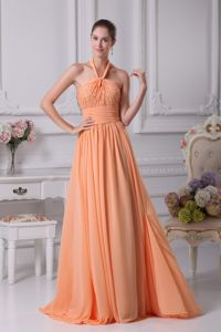 Low Price Halter Beaded Orange Long Graduation Dresses for High School