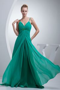 Zipper-up Spaghetti Straps Long Turquoise Graduation Dresses for Juniors