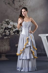 Cheap Beaded Tiered Gray Floor-length Graduation Dresses for Wholesale
