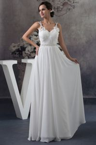 Dreamy Straps White Long Chiffon Graduation Dress with Beads and Flowers