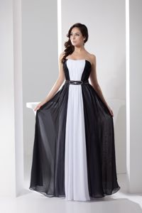 Cheap White and Black Chiffon Floor-length Graduation Dress for Wholesale