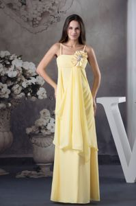 Rolling Flowers Yellow Empire long Straps School Anniversary Party Dress