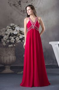 Red V-neck Empire long Criss Cross Beading School Spring Party Dress