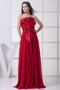 Ribbon Bow Wine Red Strapless Empire Long School Spring Party Dress