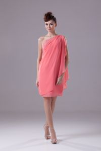 Asymmetrical One Shoulder Watermelon Beading School Autumn Party Dress
